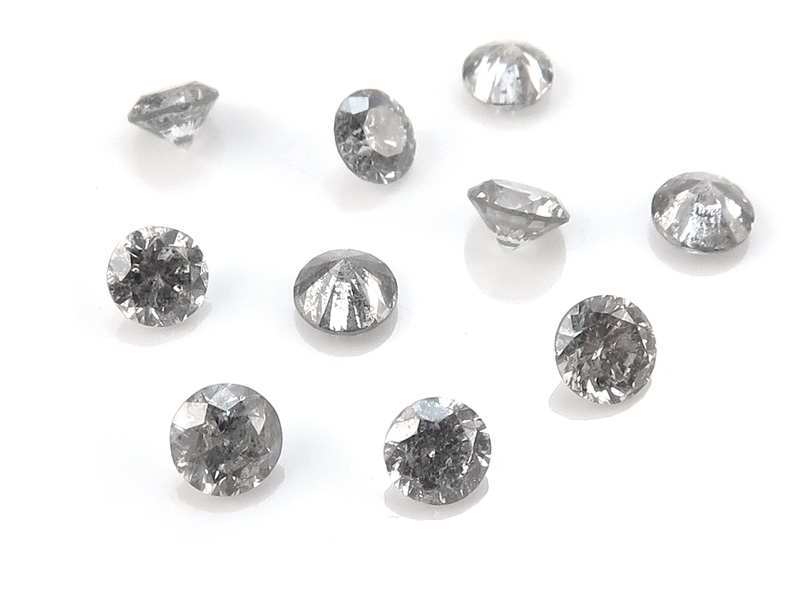 Salt and Pepper Diamond Faceted Round ~ Various Sizes