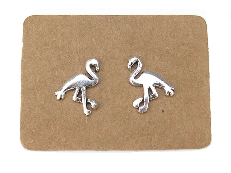Sterling Silver Flamingo Ear Studs 11mm ~ PAIR