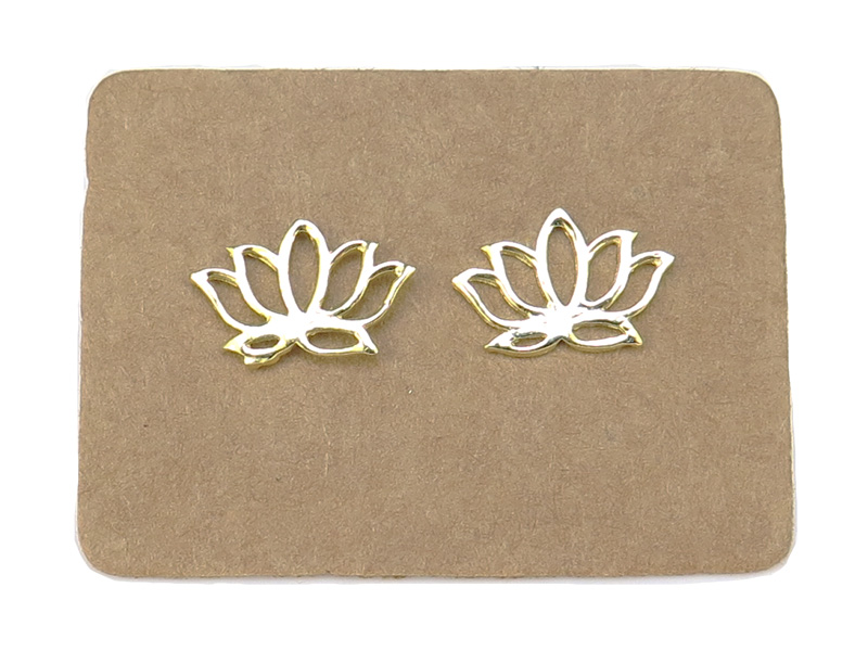 Gold Plated Sterling Silver Lotus Ear Studs ~ PAIR
