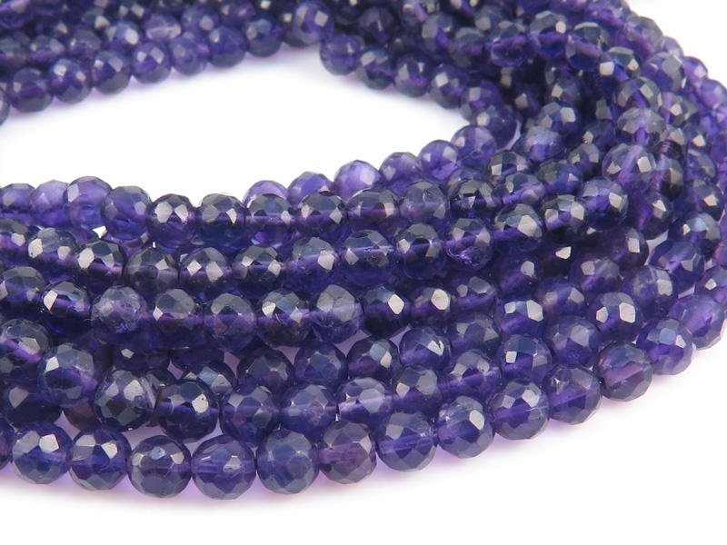 Amethyst Faceted Round Beads ~ Various Sizes ~ 12.5'' Strand