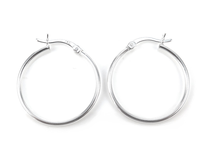 Sterling Silver Hinged Earring Hoop 25mm ~ PAIR