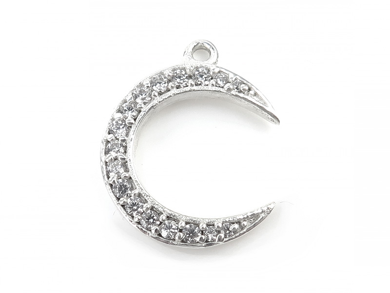 Sterling Silver Zircon Crescent Moon Pendant 17mm