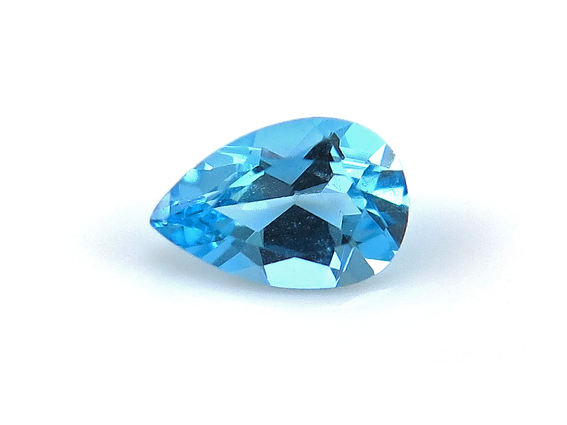 Swiss Blue Topaz Faceted Pear ~ Various Sizes