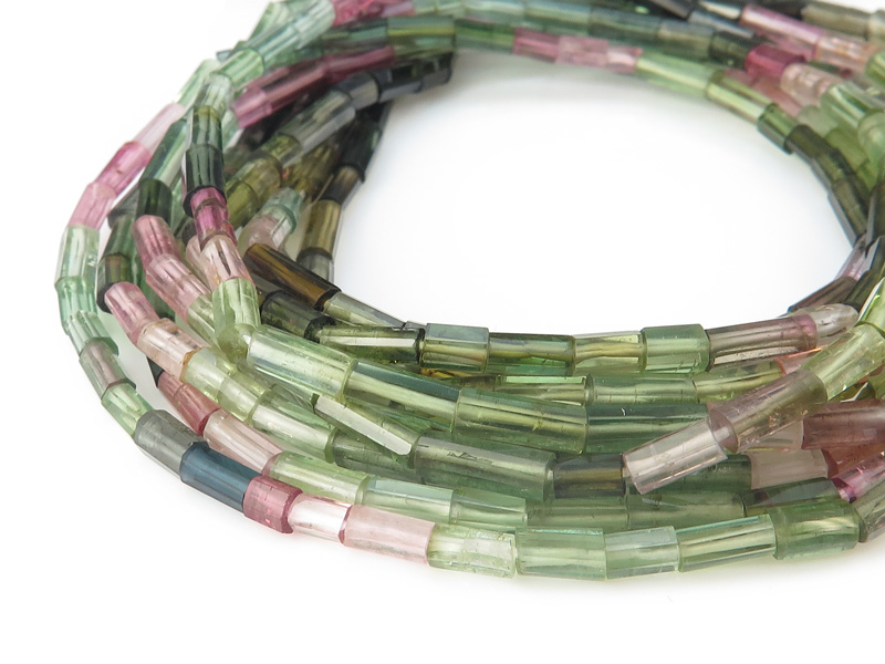 AA Multi-Tourmaline Step Faceted Cylinder Beads 5-8mm ~ 16'' Strand