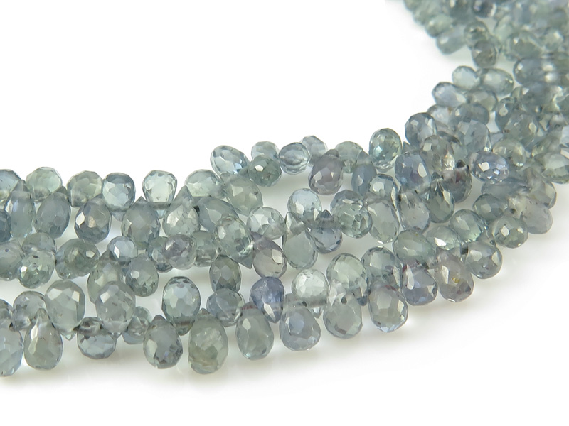 AAA Green/Blue Sapphire Micro-Faceted Teardrop Briolettes 3.5-4.25mm ~ 8'' Strand