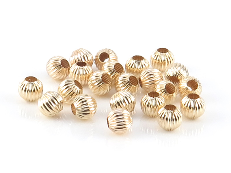 14K Gold Corrugated Bead 3mm