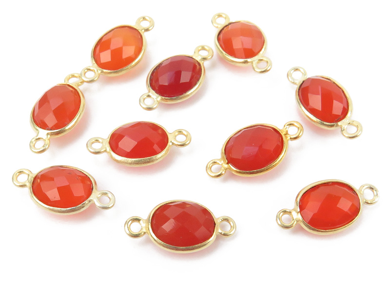 Gold Vermeil Carnelian Oval Connector 14mm