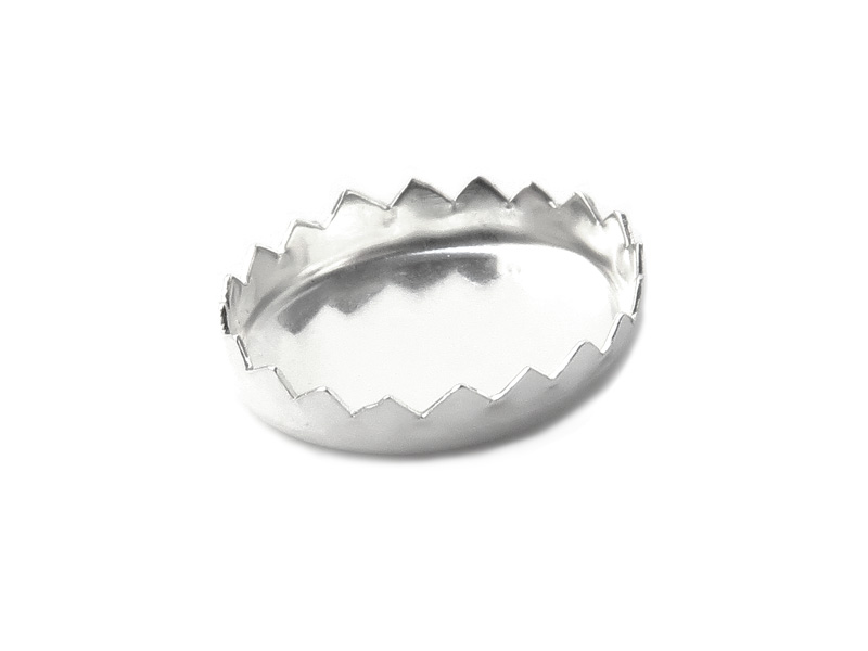 Sterling Silver Serrated Oval Bezel Cup Setting 10mm x 8mm