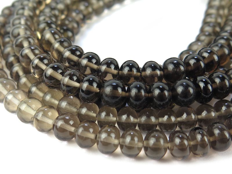 AAA Smoky Quartz Smooth Rondelles 5-5.5mm ~ 8'' Strand