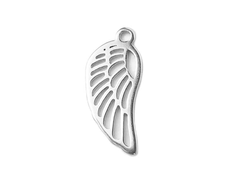 Sterling Silver Angel Wing Charm 14mm