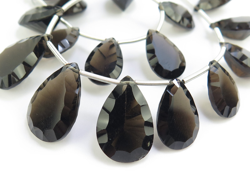 AAA Smoky Quartz Faceted Concave Pear Briolettes 12-18mm ~ 8.5'' Strand