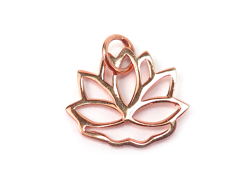 Rose Gold Vermeil Lotus Pendant 13mm