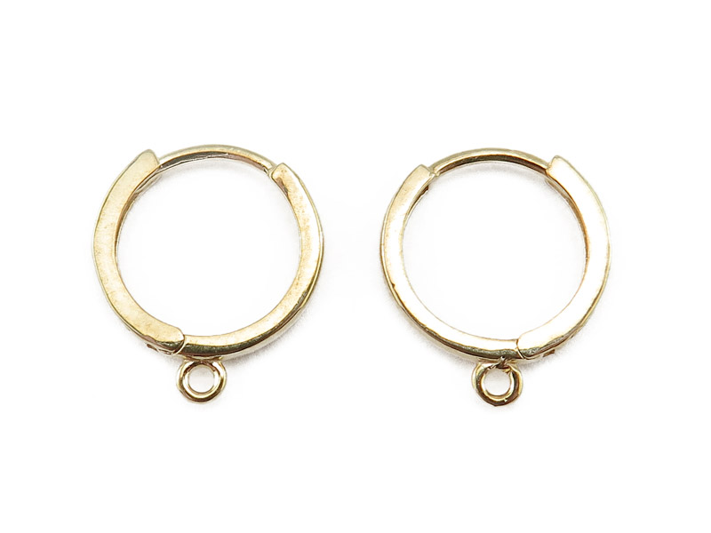 14K Gold Hinged Ear Hoops with Ring 12mm ~ PAIR