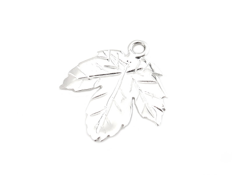 Sterling Silver Maple Leaf Charm 13mm
