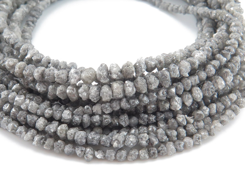 Dark Grey Diamond Rough Nuggets 2-3mm ~ 17'' Strand