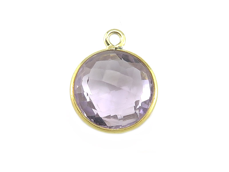 Gold Vermeil Lilac Amethyst Round Pendant 14mm