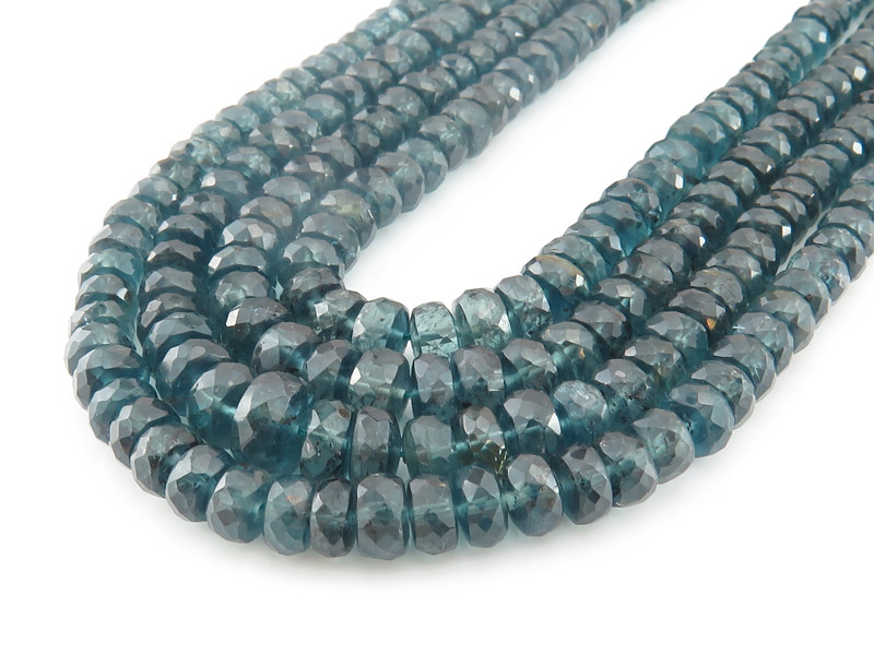 AA+ Teal Kyanite Micro-Faceted Rondelles 4.5-5.5mm ~ 16'' Strand