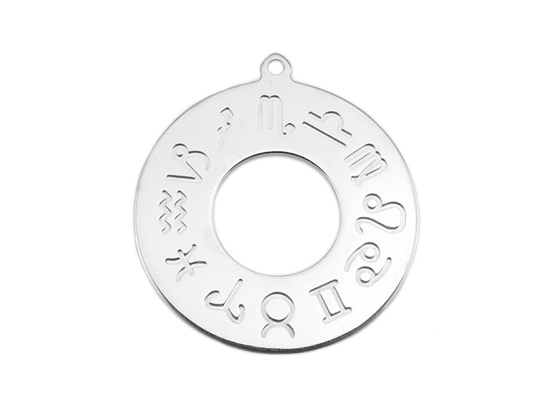 Sterling Silver Zodiac Pendant 20mm