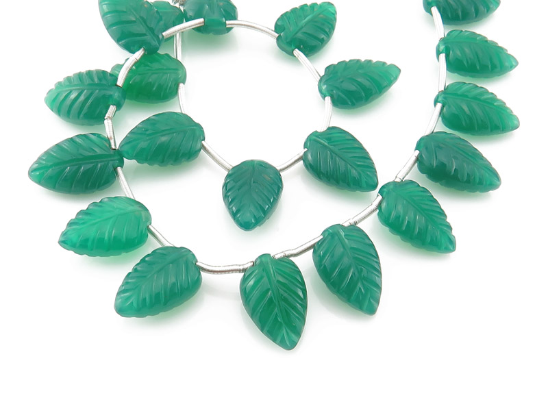 AAA Green Onyx Carved Leaf Briolettes 12-13.5mm
