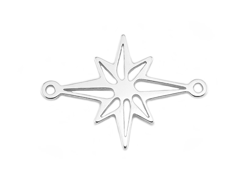 Sterling Silver Pole Star Connector 19mm