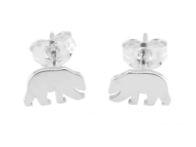 Sterling Silver Polar Bear Ear Studs  ~ PAIR