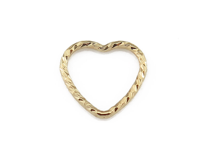 Gold Filled Sparkle Heart Connector 10mm