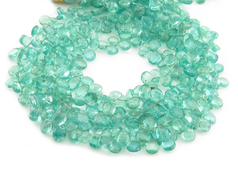 AA Ocean Apatite Faceted Pear Briolettes 6mm ~ 9'' Strand