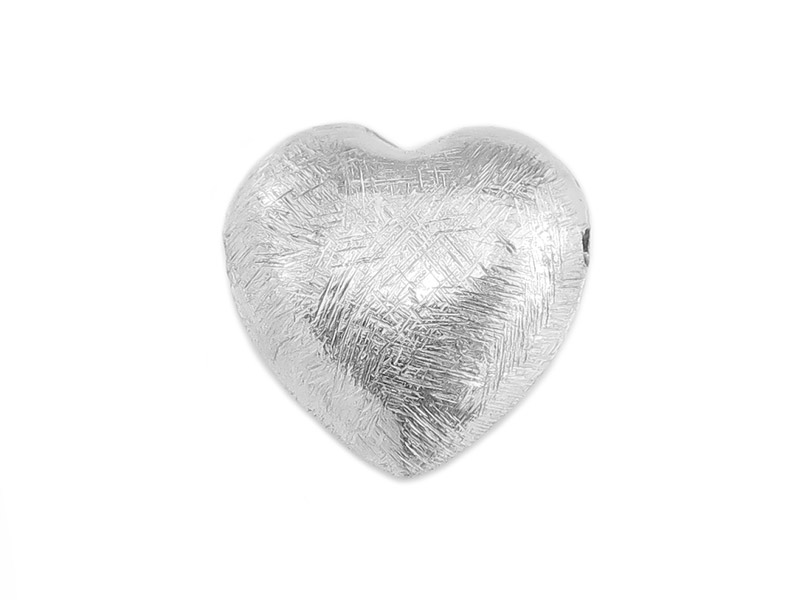 Sterling Silver Brushed Heart Bead 14mm