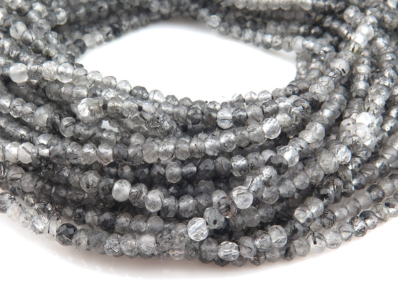 AAA Tourmalinated Quartz Faceted Round Beads 3mm ~ 12.5'' Strand