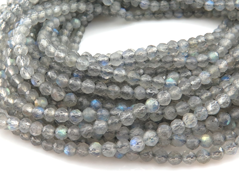 AAA Labradorite Micro Faceted Round Beads 3mm ~ 12.5'' Strand