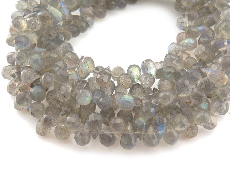 AA Labradorite Faceted Teardrop Briolettes 7.5mm ~ 8'' Strand