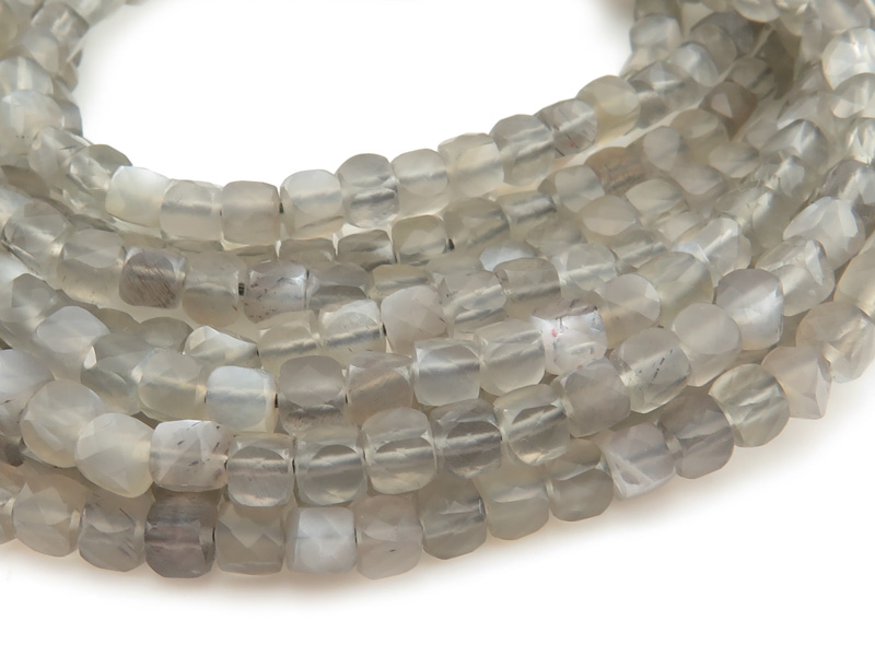 AA Grey Moonstone Faceted Cube Beads 3.75mm ~ 12.5'' Strand