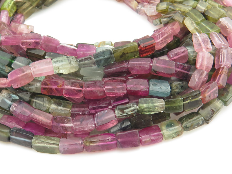 Multi-Tourmaline Smooth Rectangle Beads 5-7mm ~ 13'' Strand