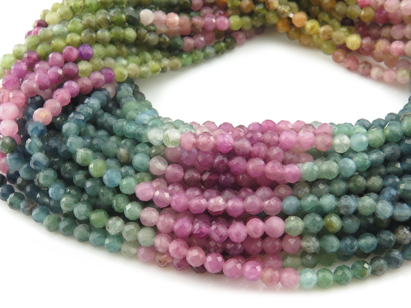 AA Multi-Tourmaline Micro-Faceted Round Beads 3mm ~ 12.5'' Strand