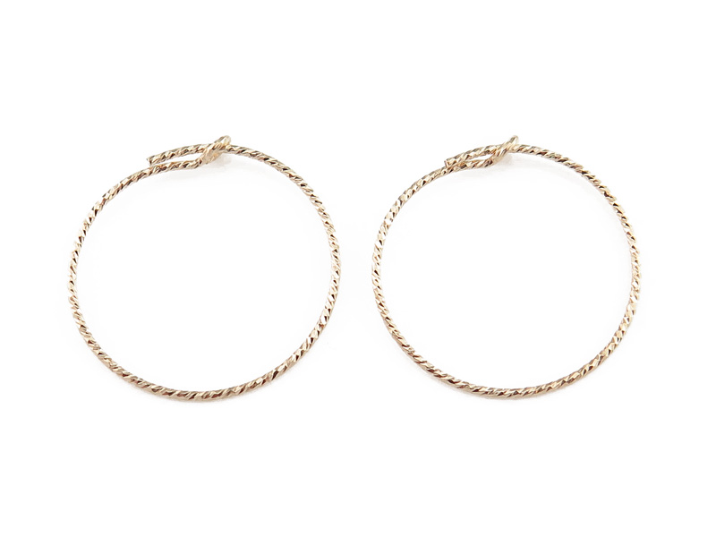 Gold Filled Sparkle Beading Hoop 20mm ~ PAIR