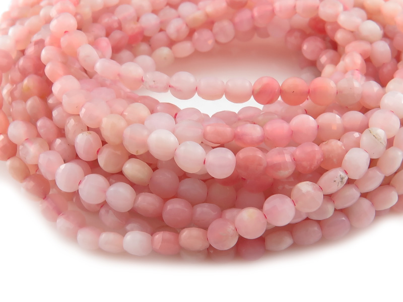 AA Pink Opal Faceted Coin Beads 4mm ~ 12.5'' Strand