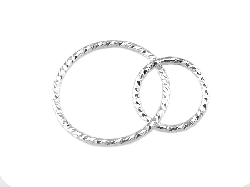 Sterling Silver Sparkle Double Circle Connector 15mm & 10mm