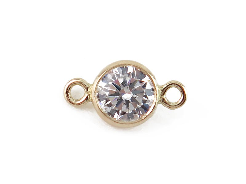 14K Gold White Cubic Zirconia Connector 8.25mm