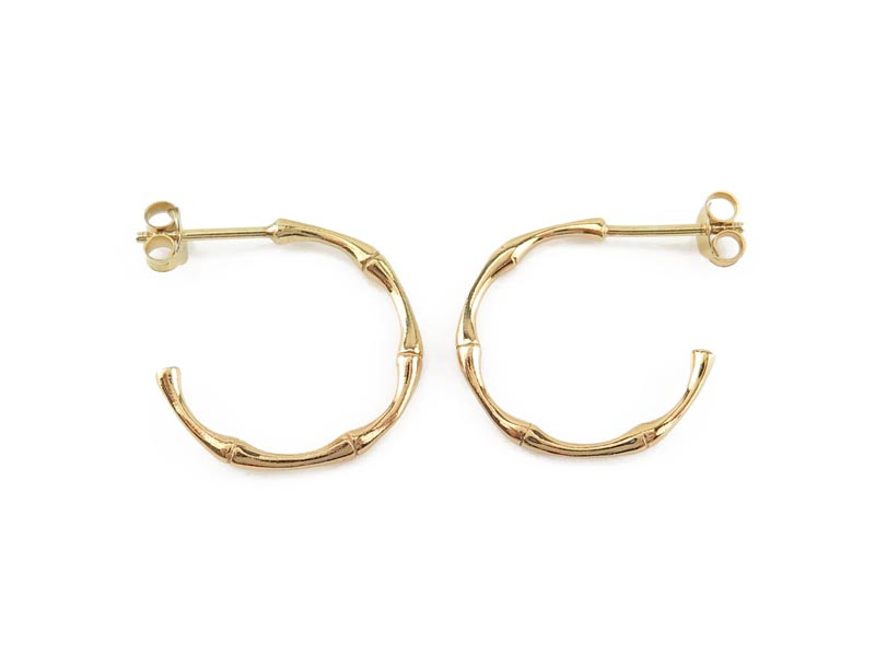 Gold Plated Sterling Silver Bamboo Ear Hoops  ~ PAIR