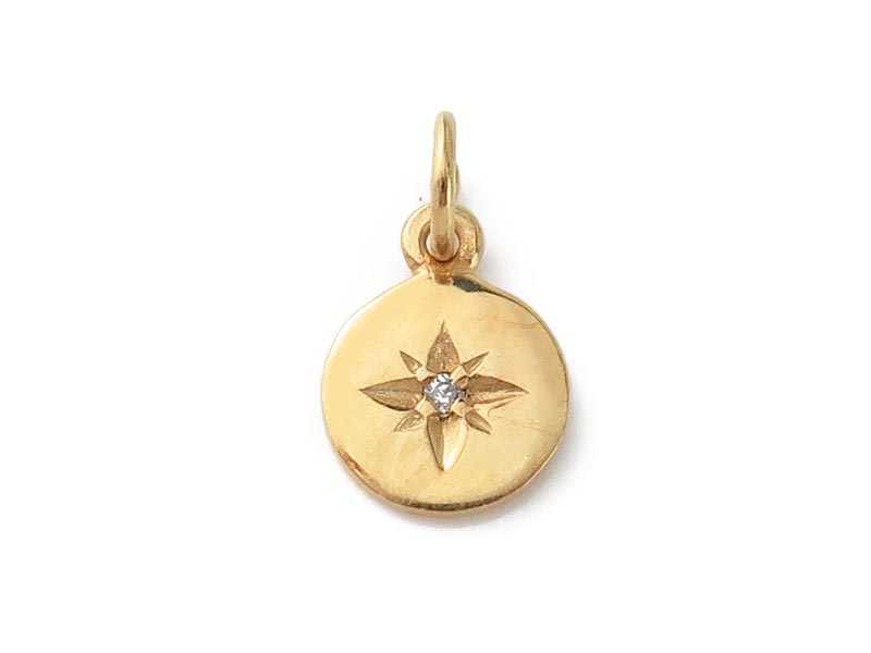 Gold Vermeil Pole Star Charm with CZ 8mm