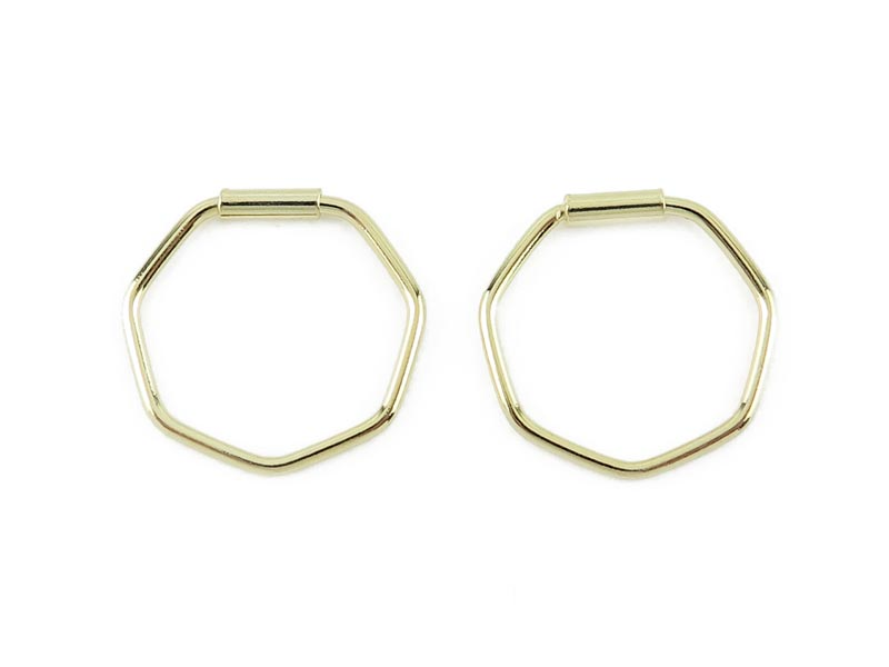 Gold Plated Sterling Silver Hexagon Hoops 12mm  ~ PAIR