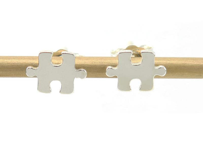 Sterling Silver Jigsaw Ear Studs ~ PAIR