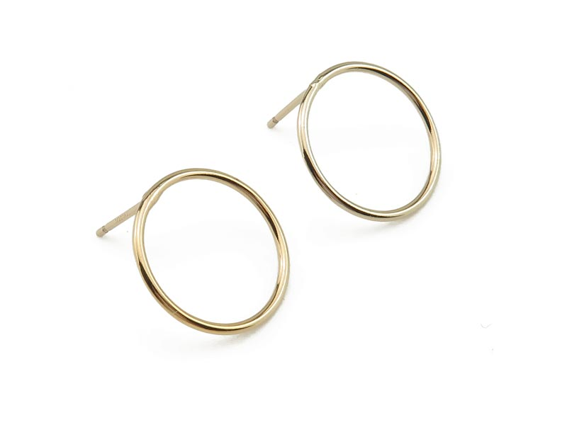 Gold Filled Round Circle Ear Posts 15mm ~ PAIR