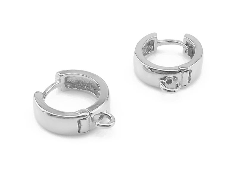 Sterling Silver Chunky Hoop Earrings with Loop  13mm ~ PAIR