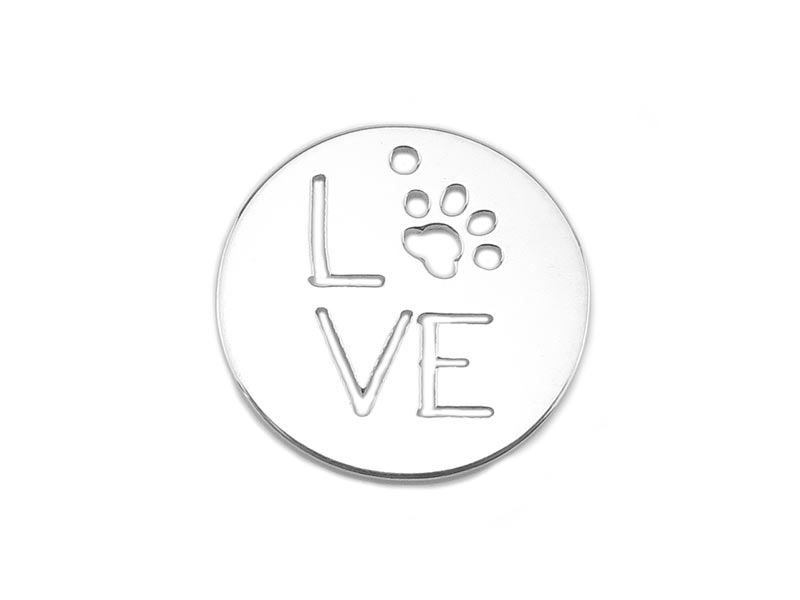 Sterling Silver Pet Love Disc 15mm