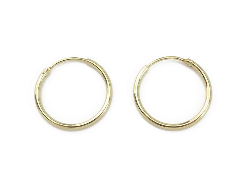 Gold Plated Sterling Silver Hoops 20mm  ~ PAIR