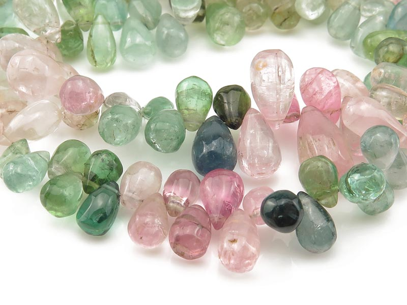 Multi-Tourmaline Smooth Teardrop Briolettes 5-6mm ~ 9'' Strand