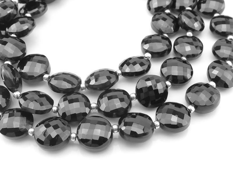 AAA Black Spinel Faceted Coin Beads 8-8.5mm ~ 8'' Strand
