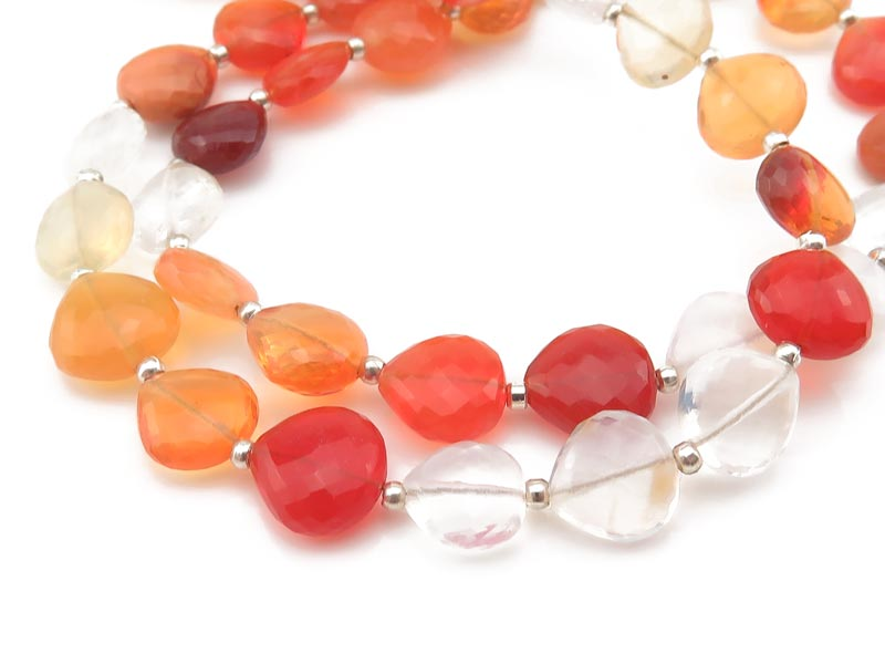 AA+ Fire Opal Micro Faceted Heart Beads 8-8.5mm ~ 8.5'' Strand