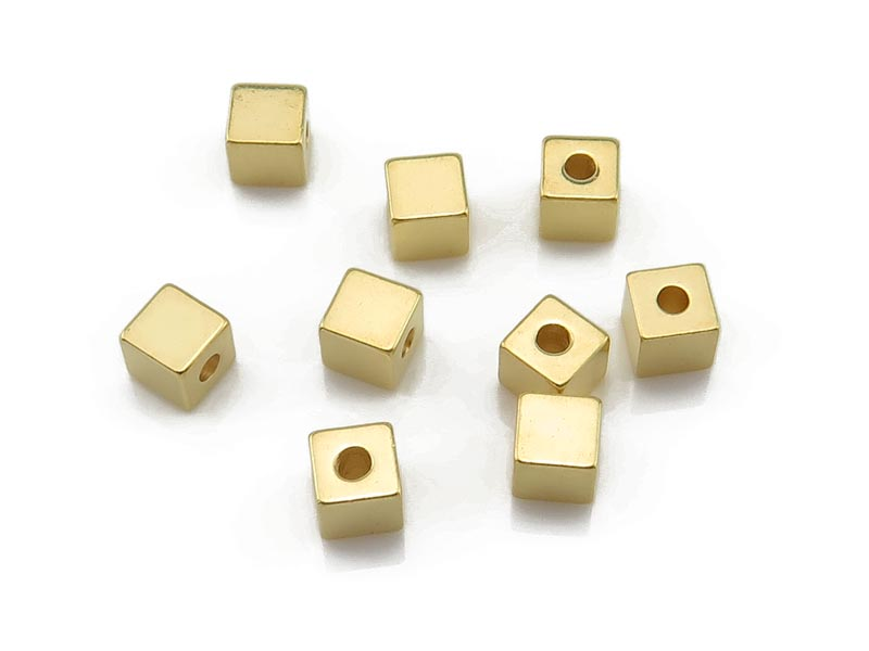 Gold Vermeil Square Bead 3mm
